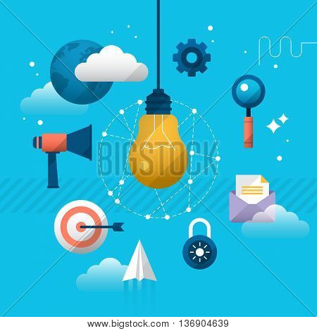 Start up concept of new business or product. Stylish design with light bulb and flat icons