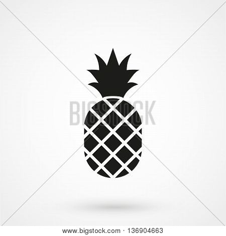 Pineapple Icon On White Background In Flat Style. Simple Vector Illustration