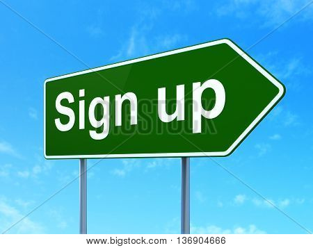 Web development concept: Sign Up on green road highway sign, clear blue sky background, 3D rendering