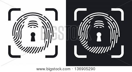 Vector Fingerprint Scanner Locked Icon. Two-tone Version Of Fingerprint Scanner Locked Simple Icon O