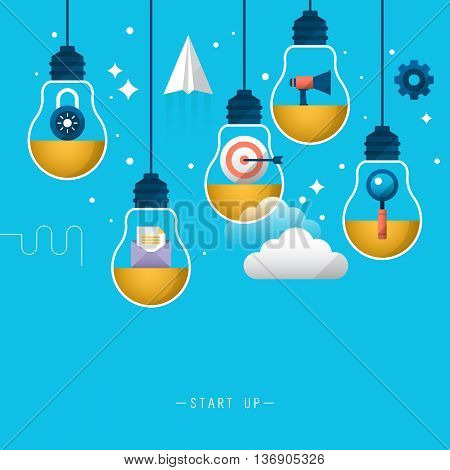 Start up business background. Stylish design with light bulb and flat icons