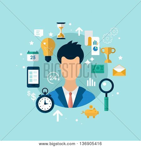 Business and management strategy concept with flat icons