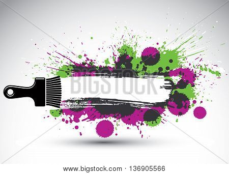 Hand-drawn vector art background created with brushstrokes and colorful ink blobs. Renovation idea illustration with a painting brush