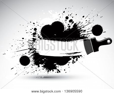 Hand-painted decorative grunge background made with smudge brushstrokes. Art renovation theme black and white drawing can be used in graphic design. Brush tool illustration.