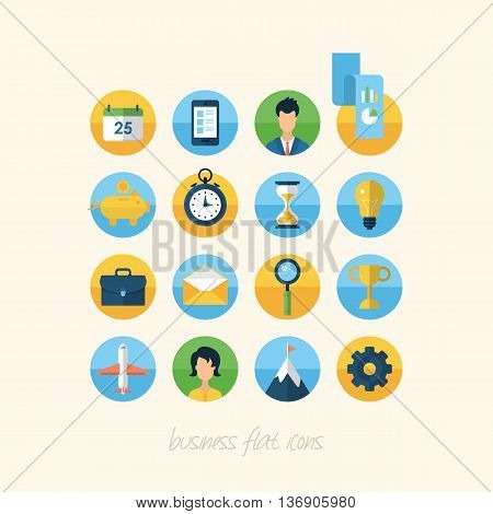 Flat icons for business and management concept
