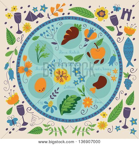 Passover holiday seder plate with floral decoration