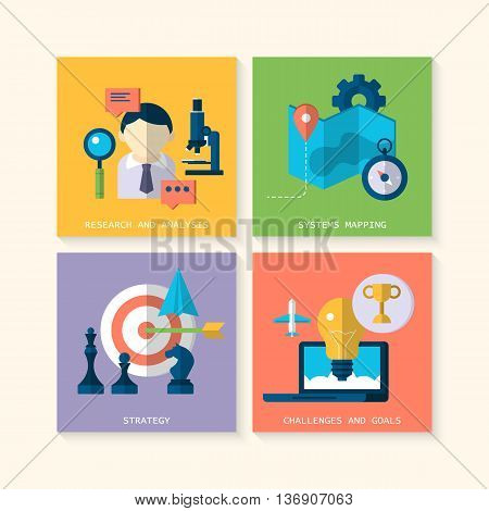 Flat modern icons for website services concept such as research analysis systems mapping strategy challenges and goals