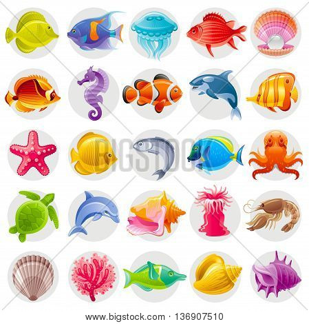 Cute cartoon icon set with underwater animals. Sea horse, fishes, turtle, pearl scallop, dolphin, whale, octopus, starfish, shell. Vector illustrations for beach tourism, summer travel, diving club