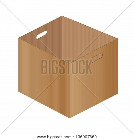 Brown paper box on a white background. One brown box packaging.