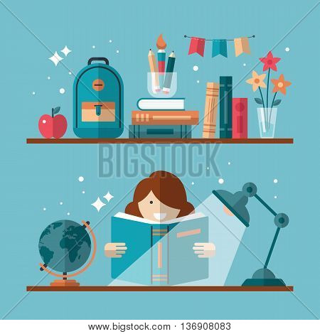 Flat stylish design for education concept. Flat vector elements for web applications and banners