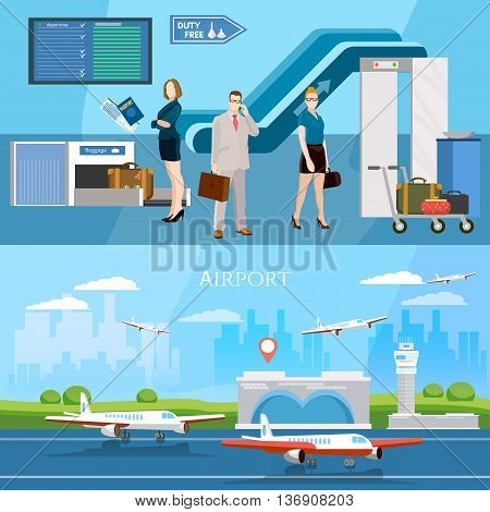 People in airport banner runway international airlines vector illustration