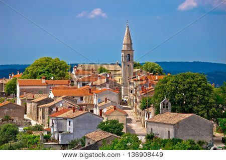 Idyllic hill town Of Draguc in Istria Croatia