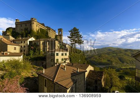 Bardi, Italy - April 24, 2016: The village Bardi and its castle, Emilia-Romagna, Italy