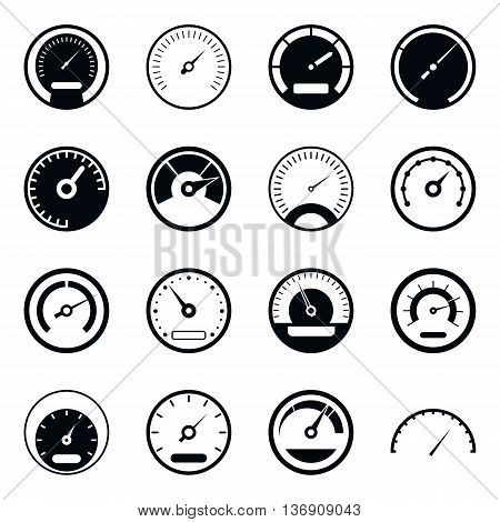 Speedometer icons set in simple style isolated vector illustration