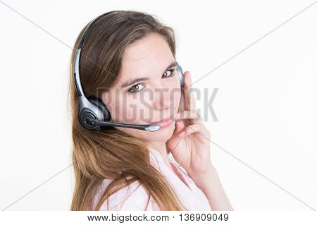 Call Center Woman Operator Against White Background.