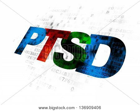 Health concept: Pixelated multicolor text PTSD on Digital background