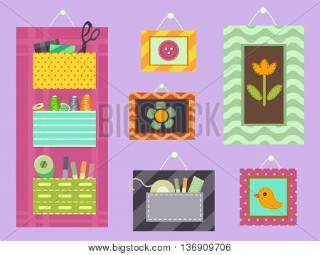 Illustration Featuring Colorful Frames and Organizers