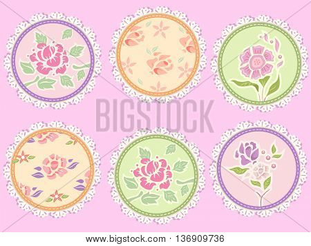 Shabby Chic Illustration Featuring Frilly Patches Decorated with Flowers