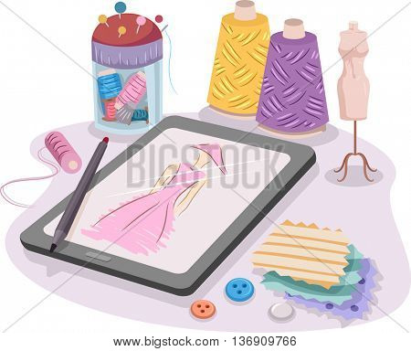 Colorful Illustration Featuring a Dress Sketched on a Tablet