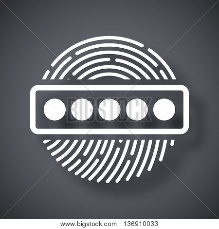 Vector Fingerprint Password Icon. Fingerprint Password Simple Icon On A Dark Gray Background
