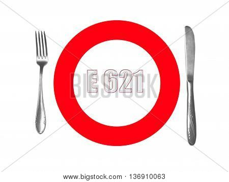 Harmful food additives - E-621  isolated on white background