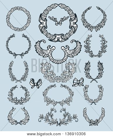 Laurel wreath branches set. Decorative elements at engraving style.
