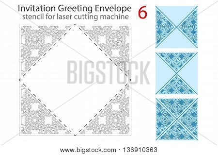 Envelope template 6 For Laser cutting. Square format. Die of wedding and invitation card. Vector Illustration isolated on white background.