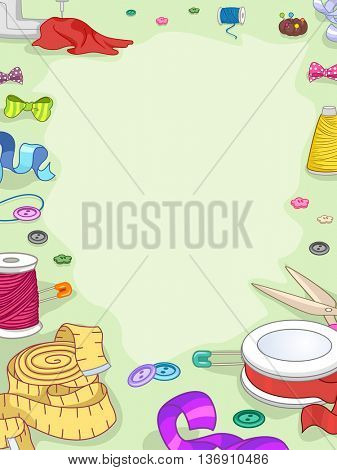 Colorful Frame Illustration Featuring Ribbons and Sewing Materials