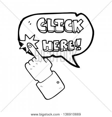 freehand drawn speech bubble cartoon click here sign with finger