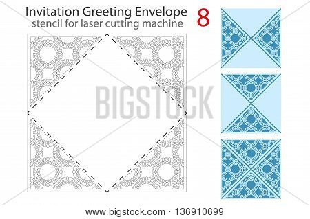 Envelope template 8 For Laser cutting. Square format. Die of wedding and invitation card. Vector Illustration isolated on white background.
