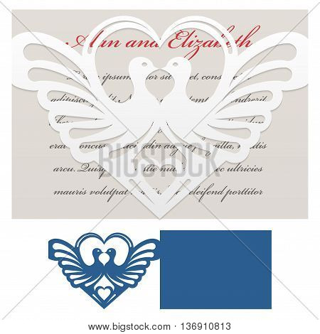 Envelope template with doves with heart-shaped For Laser cutting. Die of wedding and invitation card. Vector Illustration isolated on white background.