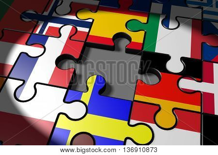 3d illustration Brexit the missing piece in a puzzle EU
