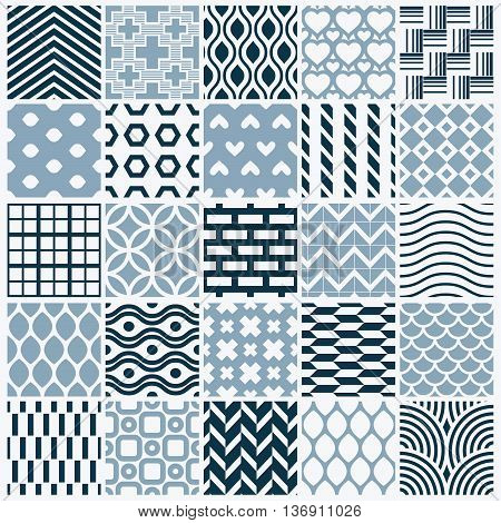Graphic ornamental tiles collection set of monochrome vector repeated patterns. Vintage art abstract textures