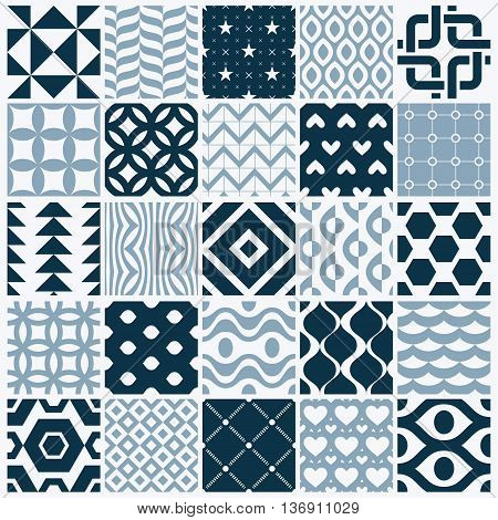 Vector ornamental black and white seamless backdrops set geometric patterns collection. Ornate textures made in modern simple style.