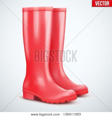 Pair of red rubber rain boots. Symbol of garden wok or autumn and weather. Vector illustration Isolated on white background.
