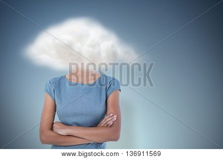 Smiling businesswoman against purple vignette