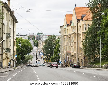 TURKU, FINLAND - JUNE 24: Art Nouveau buildings in Turku, Finland at June 24,2016