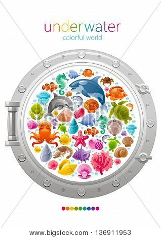 Sea travel icon set with underwater diving animals. Dolphin, killer whale, starfish, coral, oyster pearl, butterfly fish, tropical shells, sea horse, octopus, turtle and more marine icons in porthole