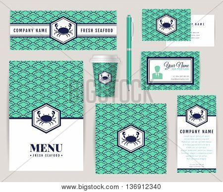 Set of corporate identity templates with crab logo. Seafood theme. Menu id card banners coffee cup and business card. Creative branding design for restaurant or shop. Vector collection.