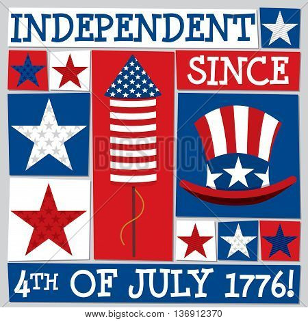 Funky Square Independence Day Card In Vector Format.