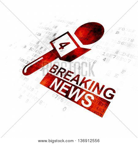 News concept: Pixelated red Breaking News And Microphone icon on Digital background