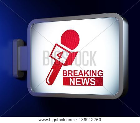 News concept: Breaking News And Microphone on advertising billboard background, 3D rendering