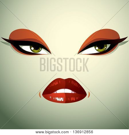 Face makeup lips and eyes of an attractive woman displaying anger. Facial emotional expression.