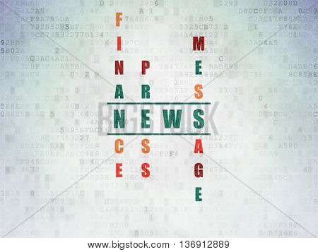 News concept: Painted green word News in solving Crossword Puzzle on Digital Data Paper background