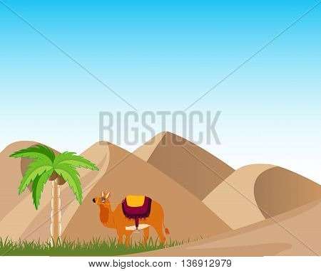 Sand desert and oasis with palm and camel.Vector illustration