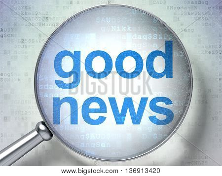 News concept: magnifying optical glass with words Good News on digital background, 3D rendering