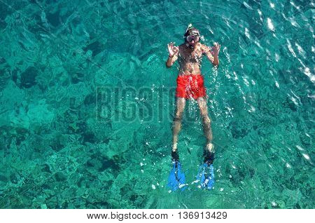 Above View Of A Snorkeling Man