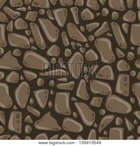 Seamless pattern with beach stones. Vector stone wall.