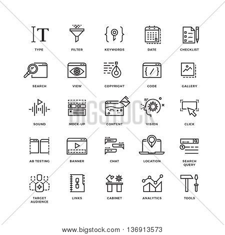 Seo and development line thin vector icons. Collection of seo development icon. Web technology for internet seo illustration