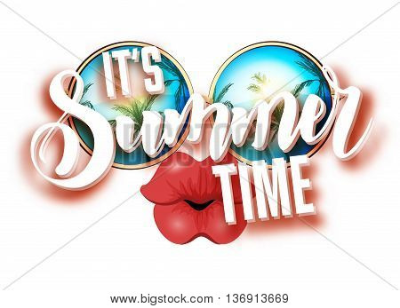 Summer lettering design with sunglasses and kissing full lips. Bright design with hand written Its summer time words. Vector Illustration on colorful background with white clouds.